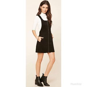Forever 21 Corduroy Black Overall Front Zip Dress